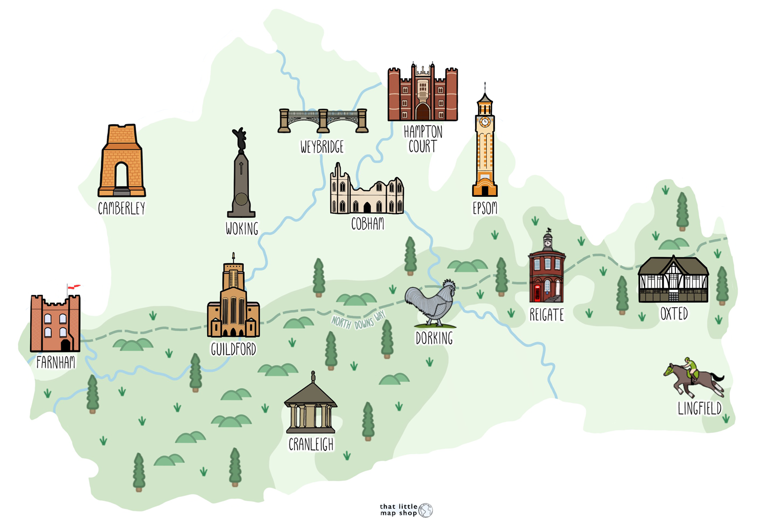 Illustrated map of Surrey