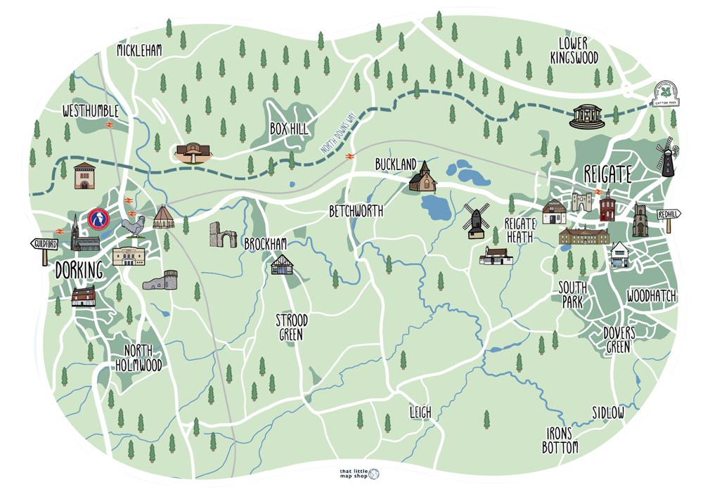 Illustrated map of Reigate